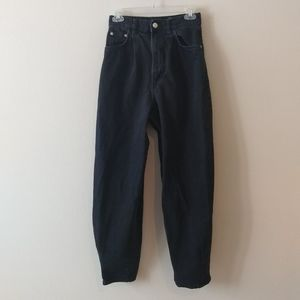 Zara Slouchy High Rise Cotton Ankle Denim Jeans in Black Size 2 US